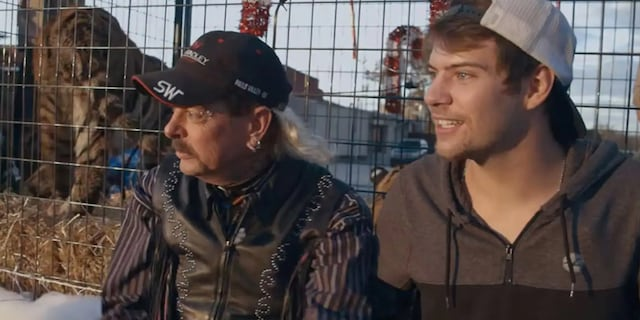 Joe 'Exotic' Maldonado-Passage, left, and Dillon Passage are 'seeking a divorce.' (Netflix)