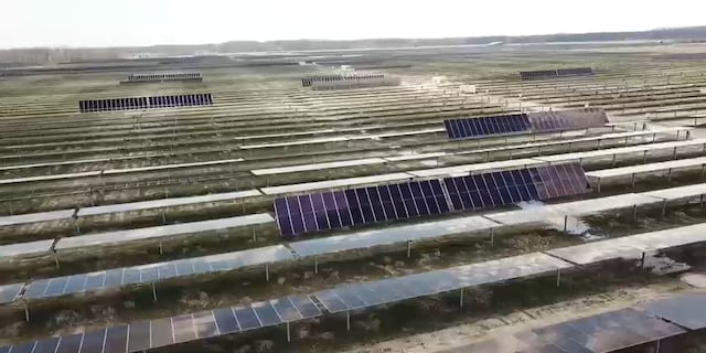 Aerial view of Hillcrest Solar Project in Brown County, Ohio.