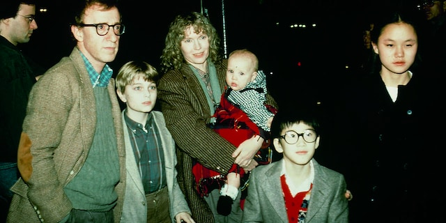 Woody Allen with Mia Farrow and children, including Soon-Yi Previn, circa 1990. (Getty Images)