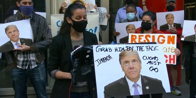 """Activists gather outside of Gov. Andrew Cuomo's New York office on Saturday, March 27 demanding that he be impeached amid sexual harassment allegations. Tiffany Cabán, a progressive activist and candidate for New York City Council, said: """"It's an embarrassment and a disgrace that we have to be here at all to demand that the most powerful politician in the state is held accountable for his actions."""""""