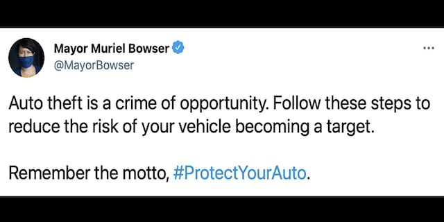 A screengrab of a now-deleted tweet by D.C. Mayor Muriel Bowser(Twitter)