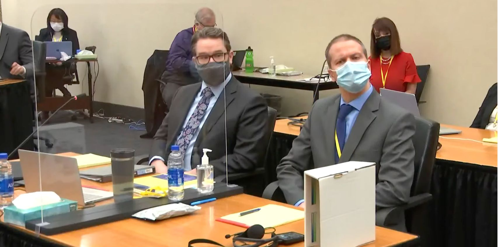 Derek Chauvin, right, with his attorney, Eric Nelson, in Hennepin County court in Minneapolis.