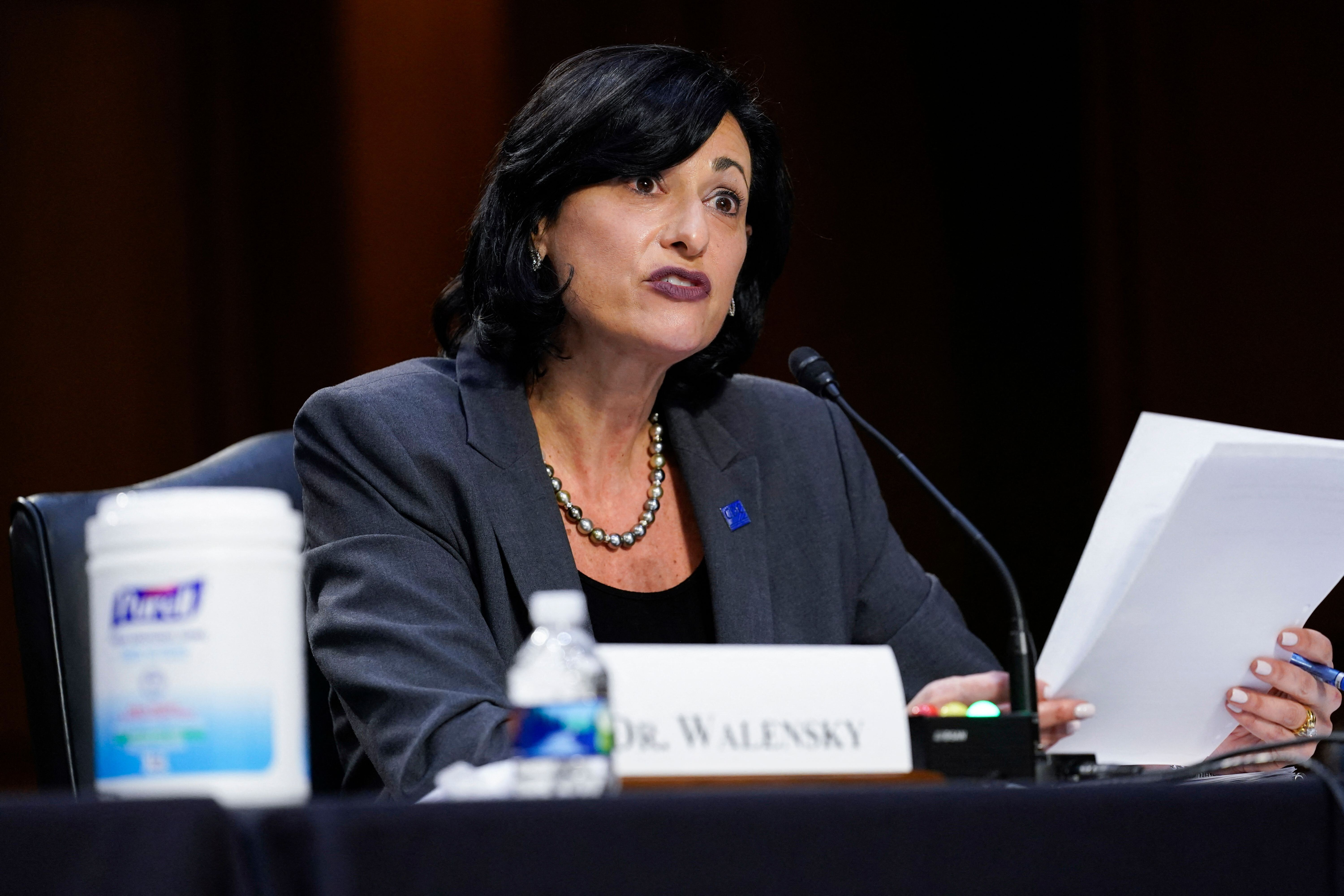 Director for the Centers for Disease Control and Prevention, Rochelle Walensky, testifies during a Senate Health, Education,