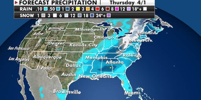 Expected precipitation totals through Thursday. (Fox News)