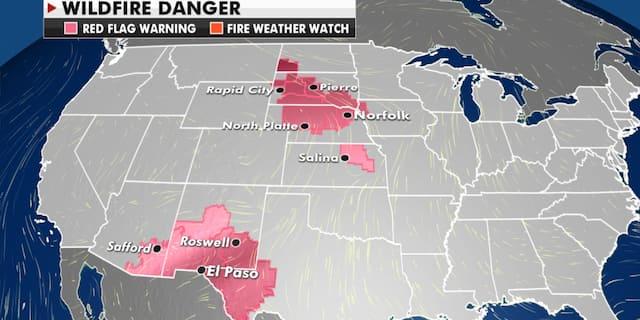 Current wildfire danger around the U.S. (Fox News)