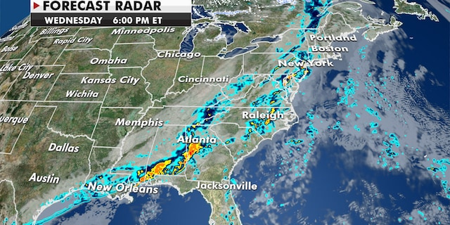 Strong to severe thunderstorms will sweep the Southeast and mid-Atlantic on Wednesday (Fox News)