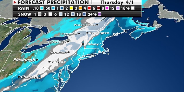 The interior sections of the Northeast will see heavy snow. (Fox News)