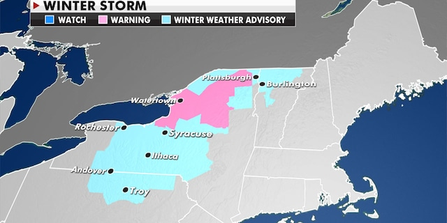 More than a foot of snow is possible across New York and Vermont. (Fox News)
