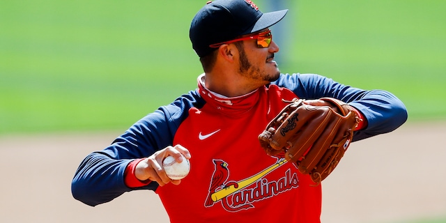 St. Louis Cardinals' Nolan Arenado throws during a baseball team workout in Cincinnati, Wednesday, March 31, 2021. The Cardinals play in an opening day game at the Cincinnati Reds on Thursday. (AP Photo/Aaron Doster)