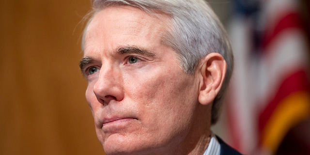 Sen. Rob Portman, R-Ohio, questions Homeland Security Secretary nominee Alejandro Mayorkas during his confirmation hearing in the Senate Homeland Security and Governmental Affairs Committee on Tuesday, Jan. 19, 2021. Portman, who was one of 10 Republicans to try to negotiate with President Biden on coronavirus relief, slammed the president's infrastructure proposal Wednesday as having little to do with actual infrastructure.