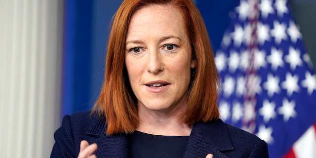 """White House press secretary Jen Psaki speaks during a briefing at the White House, Monday, March 29, 2021, in Washington. Psaki said the White House wants to work with Republicans on President Biden's """"American Jobs Plan,"""" but it remains to be seen how much ground Democrats are willing to give to get Republicans on board."""