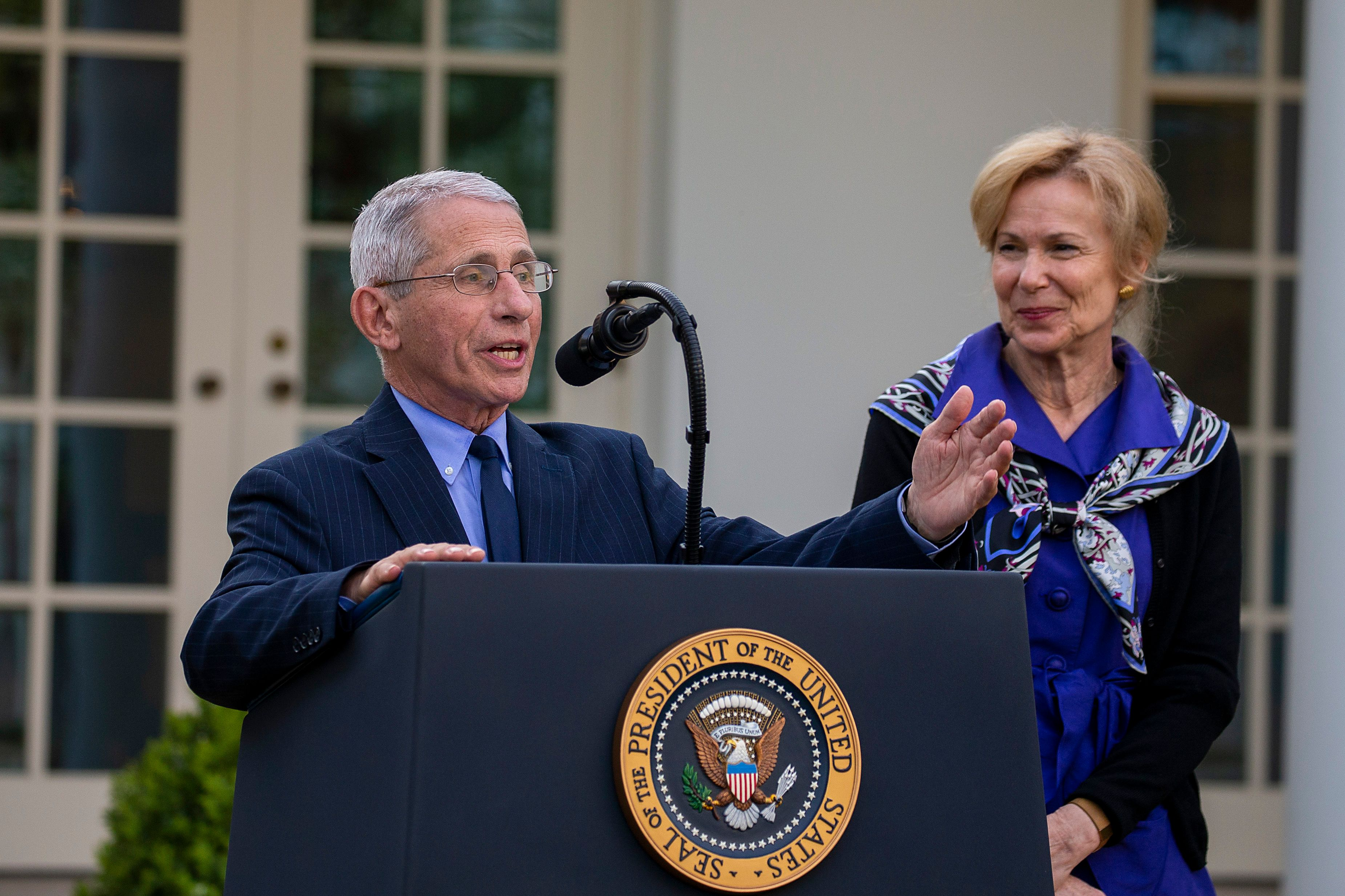 Anthony Fauci and Deborah Birx speak in the Rose Garden on March 29, 2020, during the onset of the COVID-19 pandemic in the U
