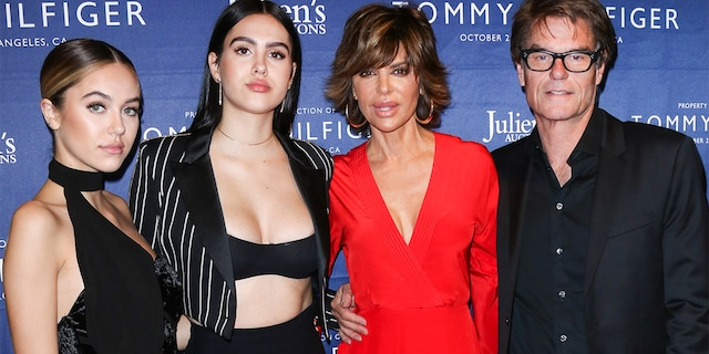 Delilah Belle Hamlin, Amelia Gray Hamlin, Lisa Rinna and Harry Hamlin attend the Tommy Hilfiger VIP reception and Julien's Auctions on October 19, 2017 in Los Angeles, California.