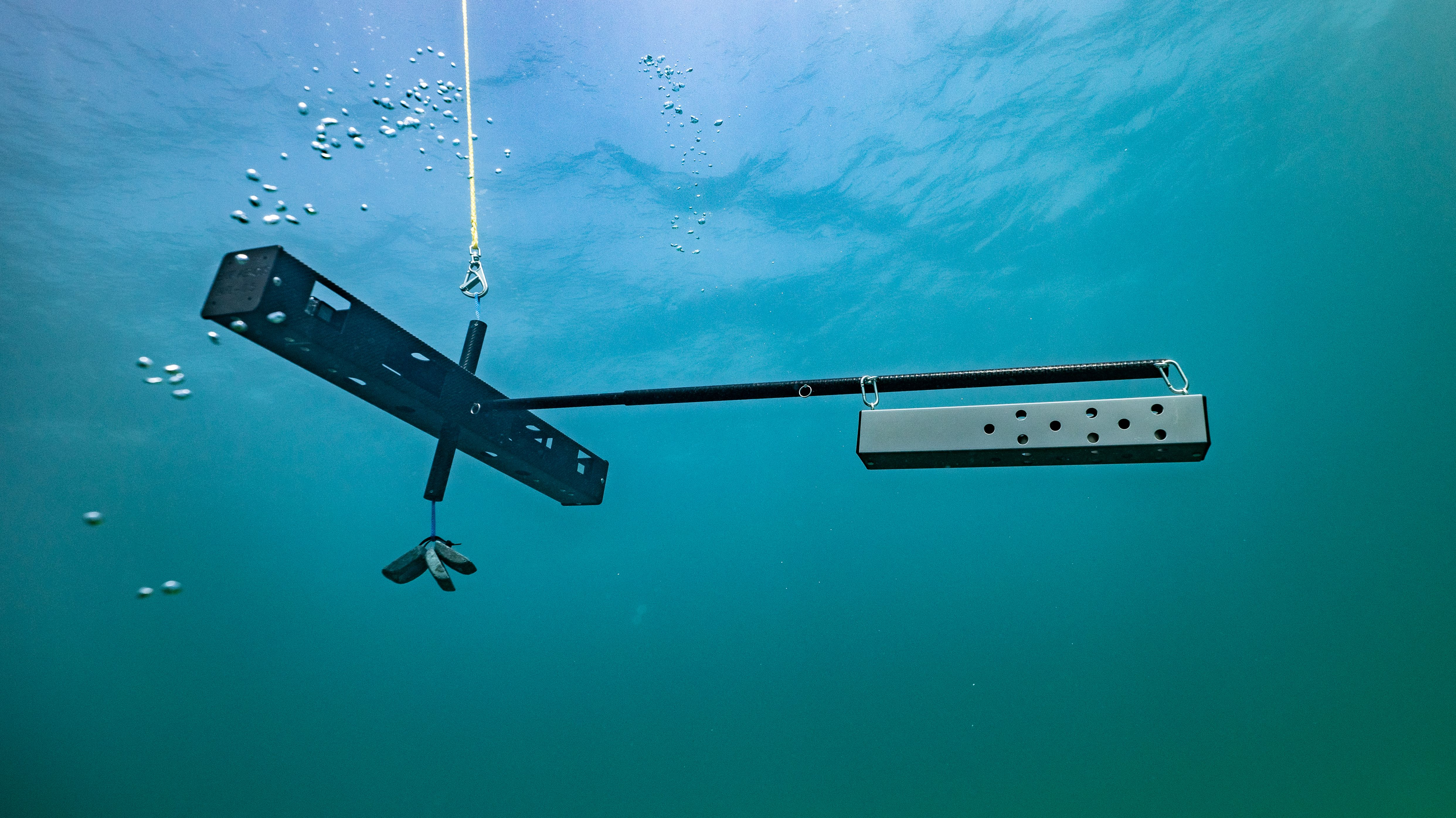 Each device has two action cameras and a baited trap to lure wildlife. They will be placed about 30 feet beneath the ocean's