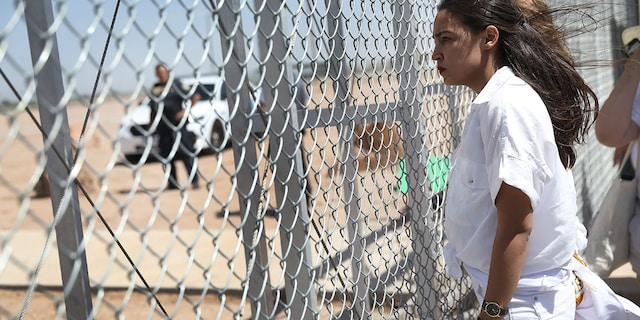 """Rep. Alexandria Ocasio-Cortez, D-N.Y., feels calling the influx of migrants along the southern border a """"surge"""" pushes White supremacy. (Photo by Joe Raedle/Getty Images)"""