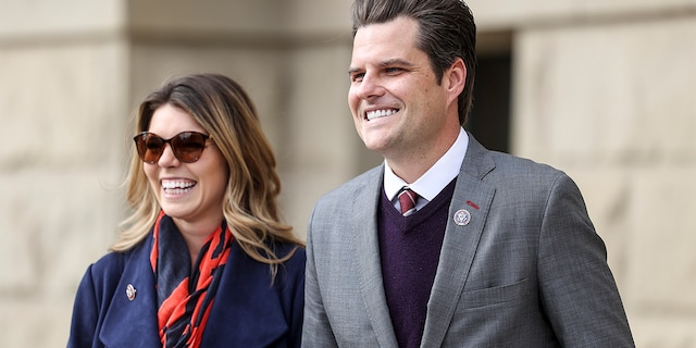 CHEYENNE, WY - JANUARY 28: Rep. Matt Gaetz (R-FL) walks with his fiancee Ginger Luckey before speaking to a crowd during a rally against Rep. Liz Cheney (R-WY) on January 28, 2021 in Cheyenne, Wyoming. Gaetz added his voice to a growing effort to vote Cheney out of office after she voted in favor of impeaching Donald Trump. (Photo by Michael Ciaglo/Getty Images)