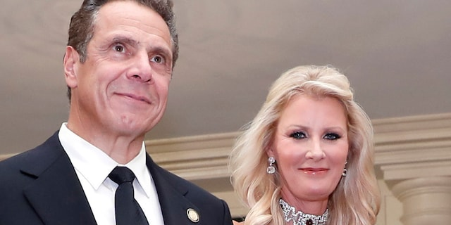 Gov. Andrew Cuomo, D-N.Y., is accompanied by his girlfriend Sandra Lee as they arrive for a state dinner at the White House in Washington, Oct. 18, 2016. (Associated Press)