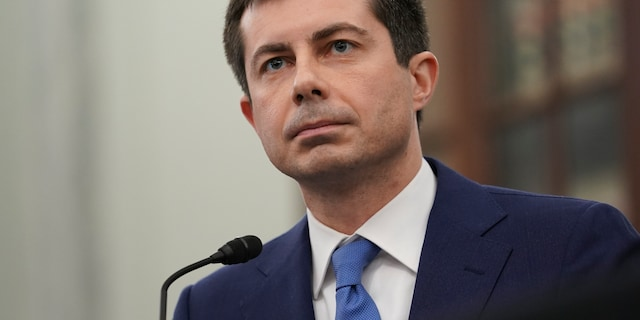 "In this Jan. 21, 2021, file photo, Transportation Secretary nominee Pete Buttigieg speaks during a Senate Commerce, Science and Transportation Committee confirmation hearing on Capitol Hill in Washington. Buttigieg is one of the top Biden Cabinet secretaries selling the president's ""American Jobs Plan."" (Stefani Reynolds/Pool via AP)"