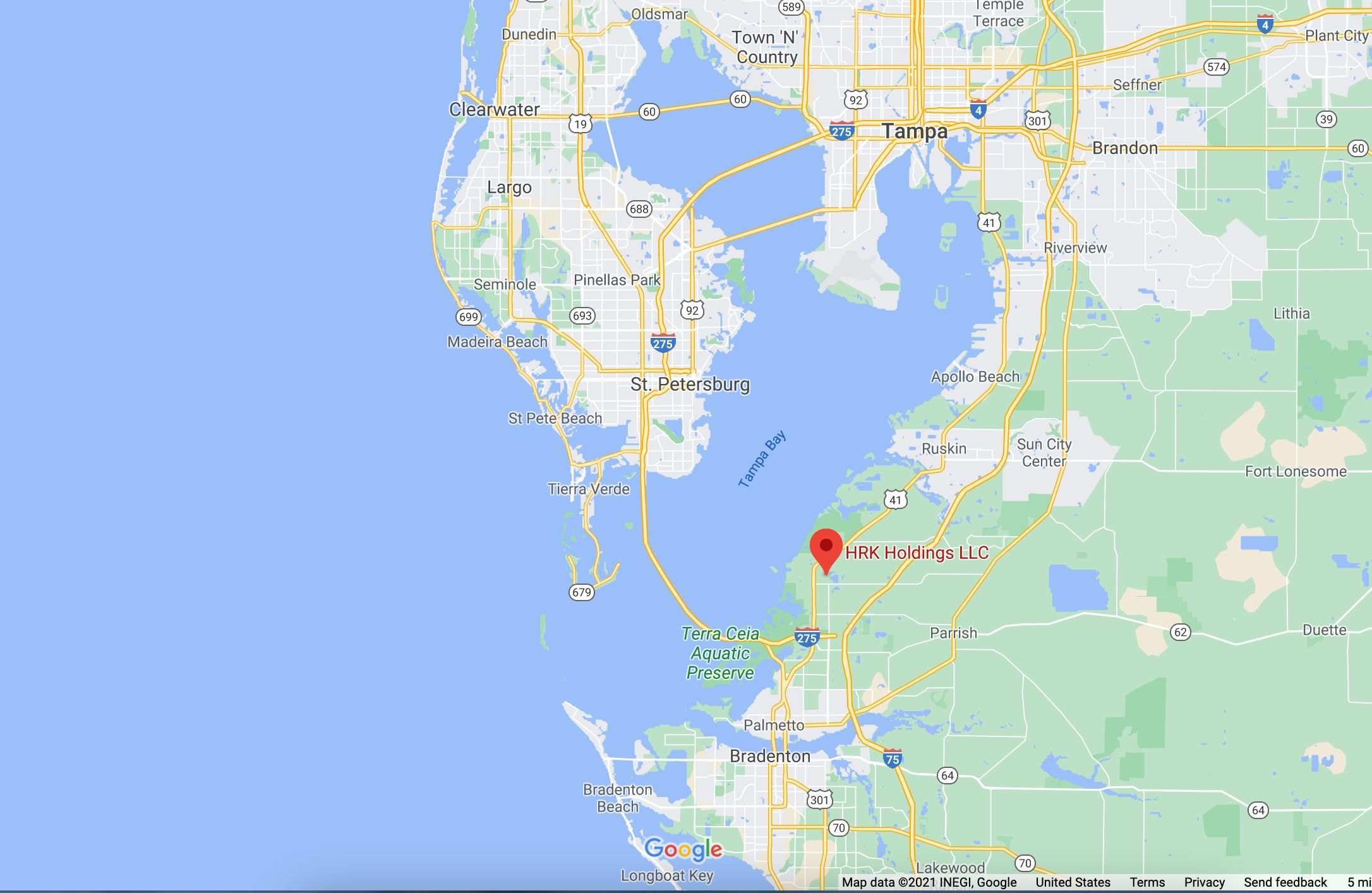 The reservoir, which is owned by HRK Holdings, is located near the Tampa Bay.