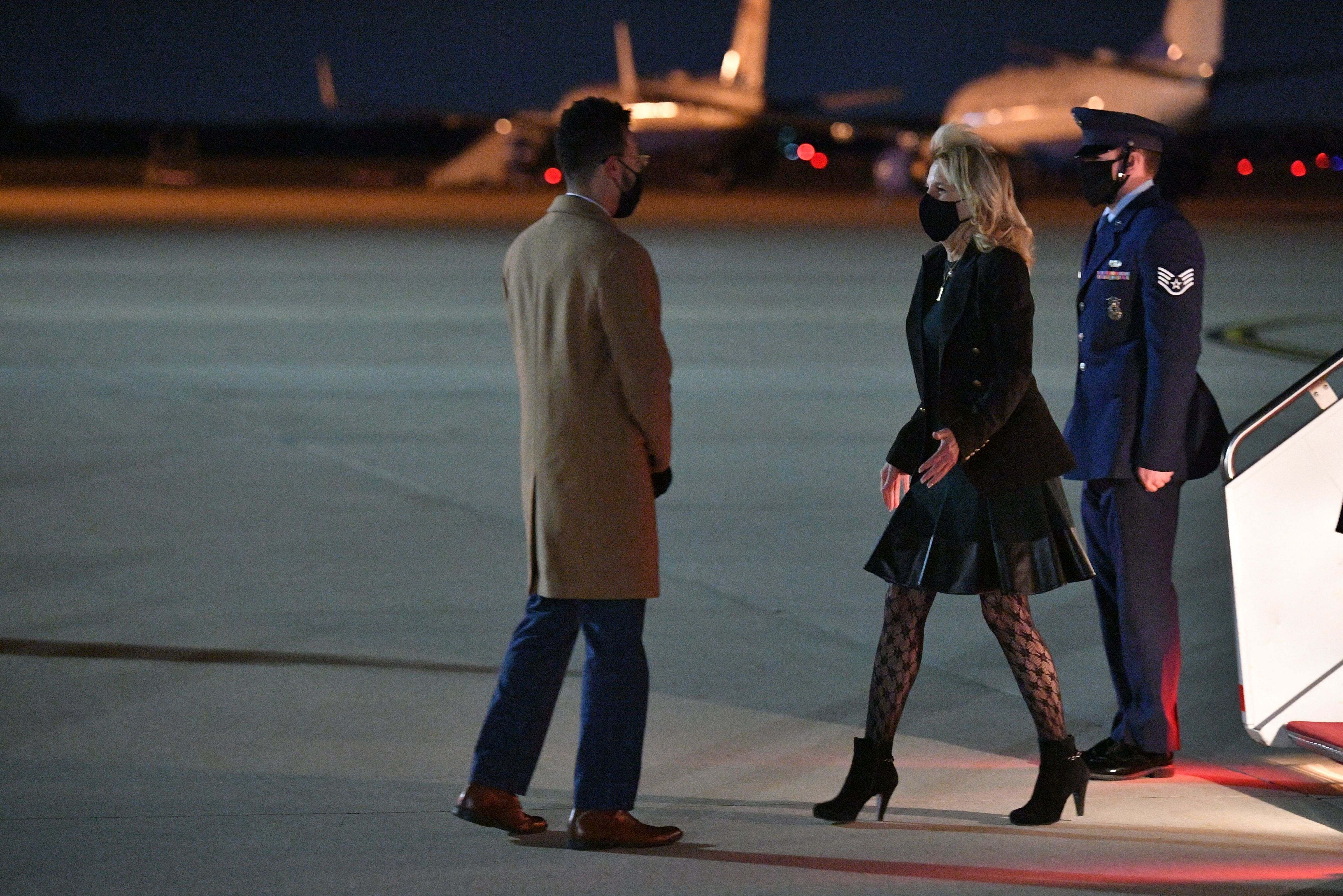 Jill Biden deplanes at Andrews Air Force Base in Maryland on April 1 after a trip to California.
