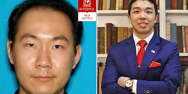 Qinxuan Pan (left) pictured in the Interpol Red Notice. He is charged with murdering Kevin Jiang in New Haven, Connecticut, on Feb. 6.