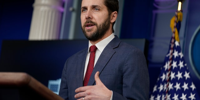 """National Economic Council Director Brian Deese speaks during a press briefing at the White House, Friday, Jan. 22, 2021, in Washington. Deese argued on """"Fox News Sunday"""" that there needs to be an update to the meaning of the word infrastructure. (AP Photo/Evan Vucci)"""