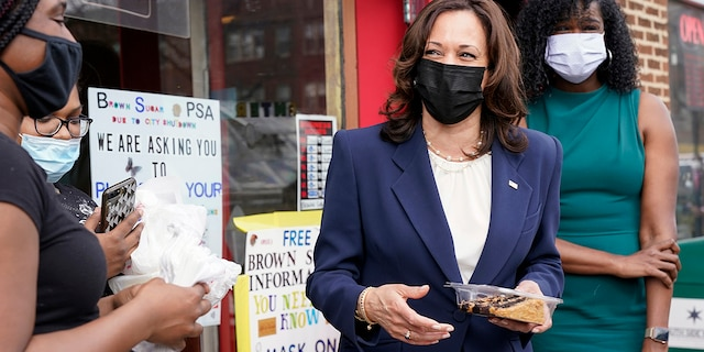 Vice President Kamala Harris makes a stop at Brown Sugar Bakery Tuesday, April 6, 2021 in Chicago. (AP Photo/Jacquelyn Martin)
