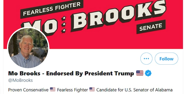 The Senate campaign Twitter page of Rep. Mo Brooks of Alabama is updated to showcase the endorsement by former President Trump, on April 7, 2021