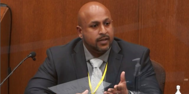 Senior Special Agent James Reyerson of the Minnesota Bureau of Criminal Apprehension testifies as Hennepin County Judge PeterCahill presides Wednesday in the trial of former Minneapolis police Officer Derek Chauvin. (Court TV via AP, Pool)