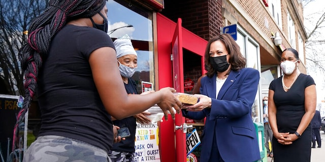 Vice President Kamala Harris visits Brown Sugar Bakery Tuesday, April 6, 2021 in Chicago. At right is Illinois Lt. Gov. Juliana Stratton.