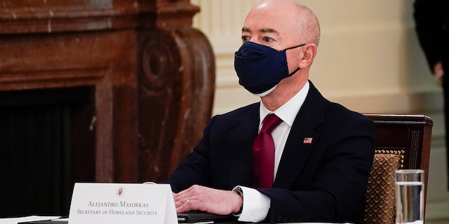 Homeland Security Secretary Alejandro Mayorkas attends a Cabinet meeting with President Joe Biden in the East Room of the White House, Thursday, April 1, 2021, in Washington. (Associated Press)