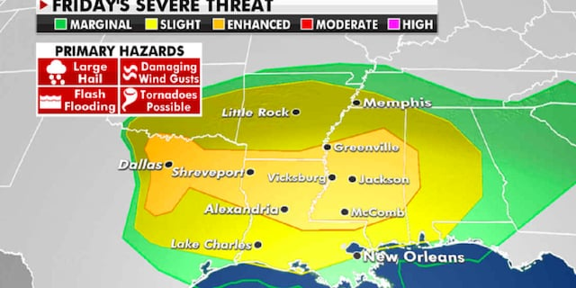 The risk of severe weather for Friday. (Fox News)