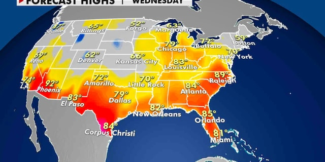 Expected high temperatures for Thursday. (Fox News)