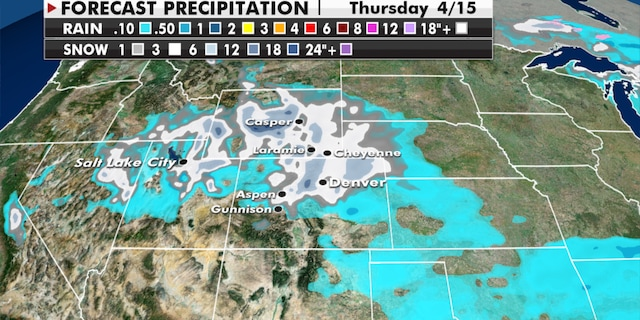 Expected snowfall totals in the West through Thursday. (Fox News)