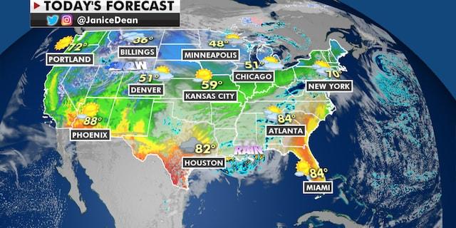 The national forecast for Wednesday, April 14. (Fox News)