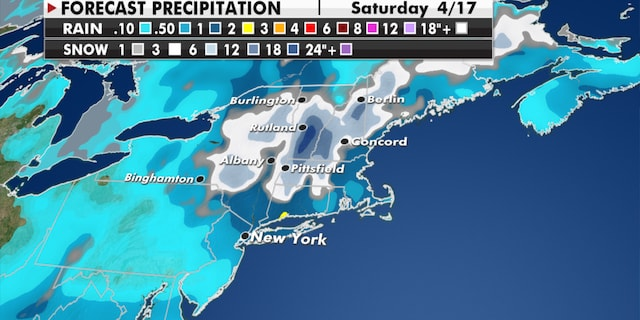 Expected snowfall in the Northeast through the end of the week. (Fox News)