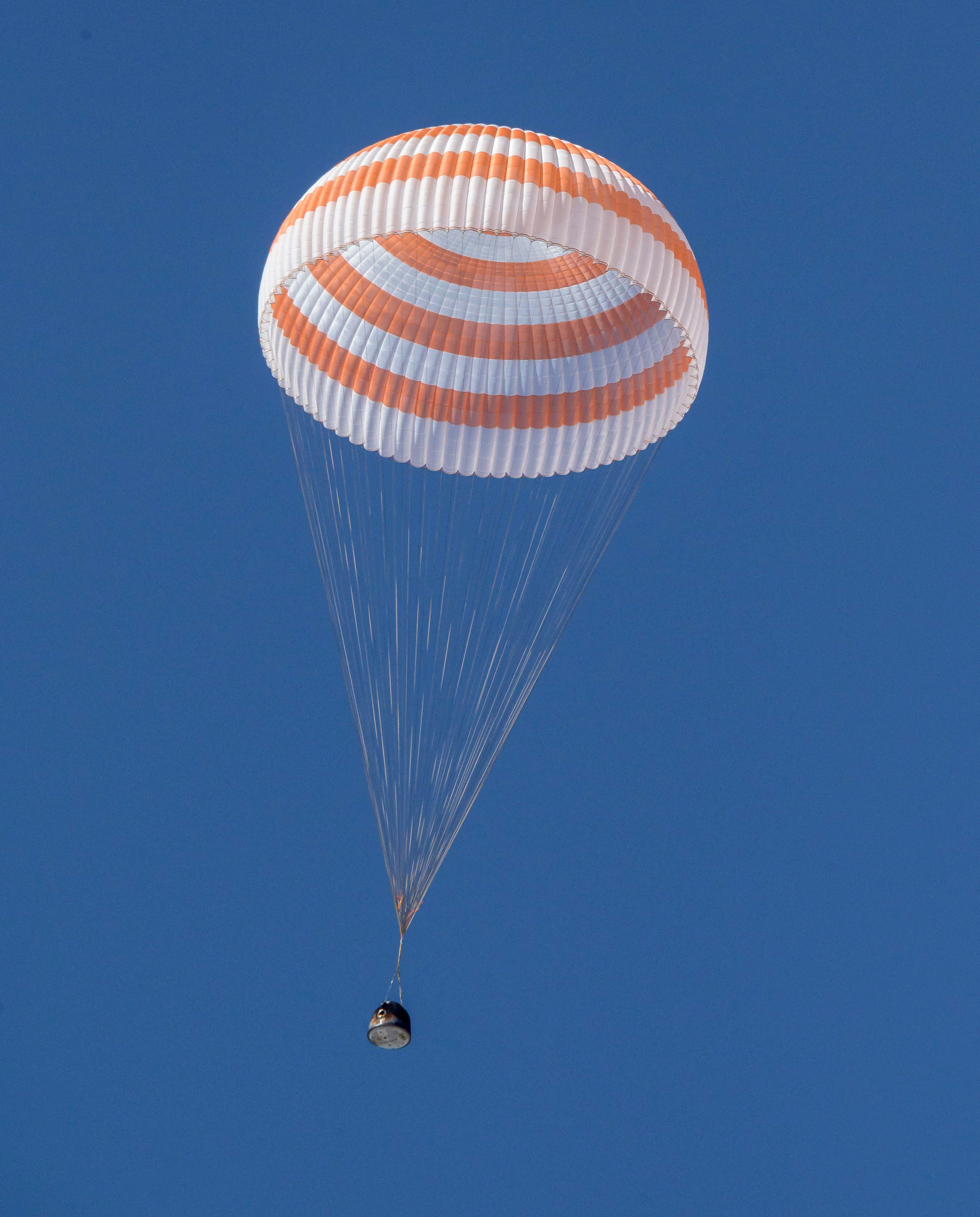 The Soyuz MS-17 spacecraft lands in a remote area near the town of Zhezkazgan, Kazakhstan, Saturday, April 17, 2021.