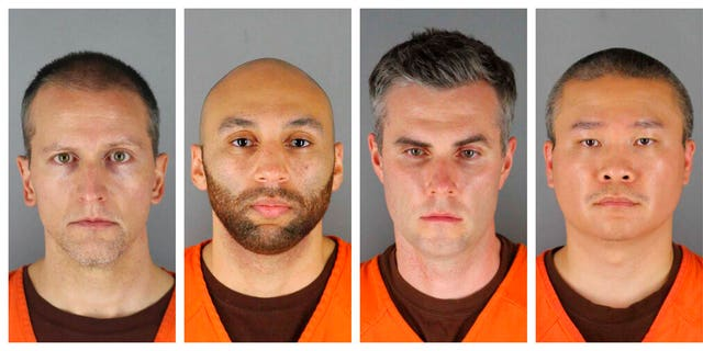 FILE: This combination of photos provided by the Hennepin County Sheriff's Office in Minnesota on Wednesday, June 3, 2020, shows Derek Chauvin, from left, J. Alexander Kueng, Thomas Lane and Tou Thao.