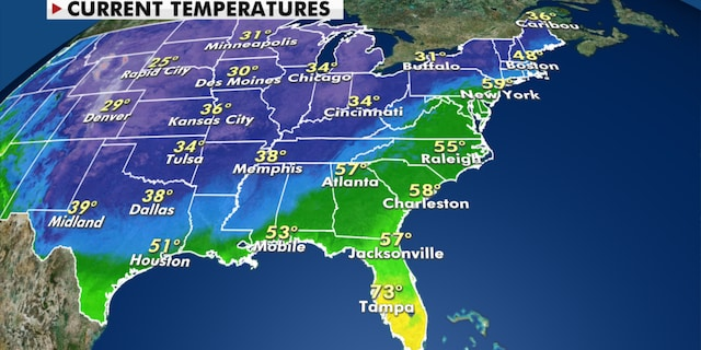 Current temperatures around the U.S. Wednesday. (Fox News)