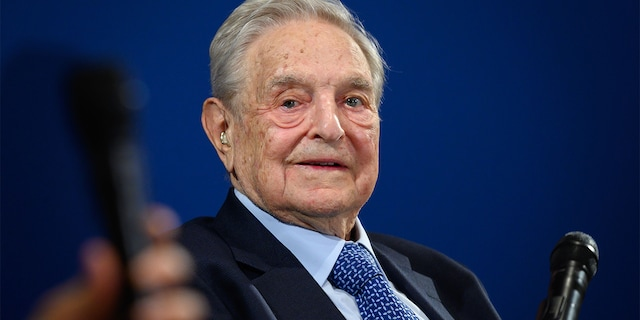 Hungarian-born U.S. investor and philanthropist George Soros looks on after having delivered a speech on the sidelines of the World Economic Forum (WEF) annual meeting, on Jan. 23, 2020, in Davos, eastern Switzerland. (FABRICE COFFRINI/AFP via Getty Images)