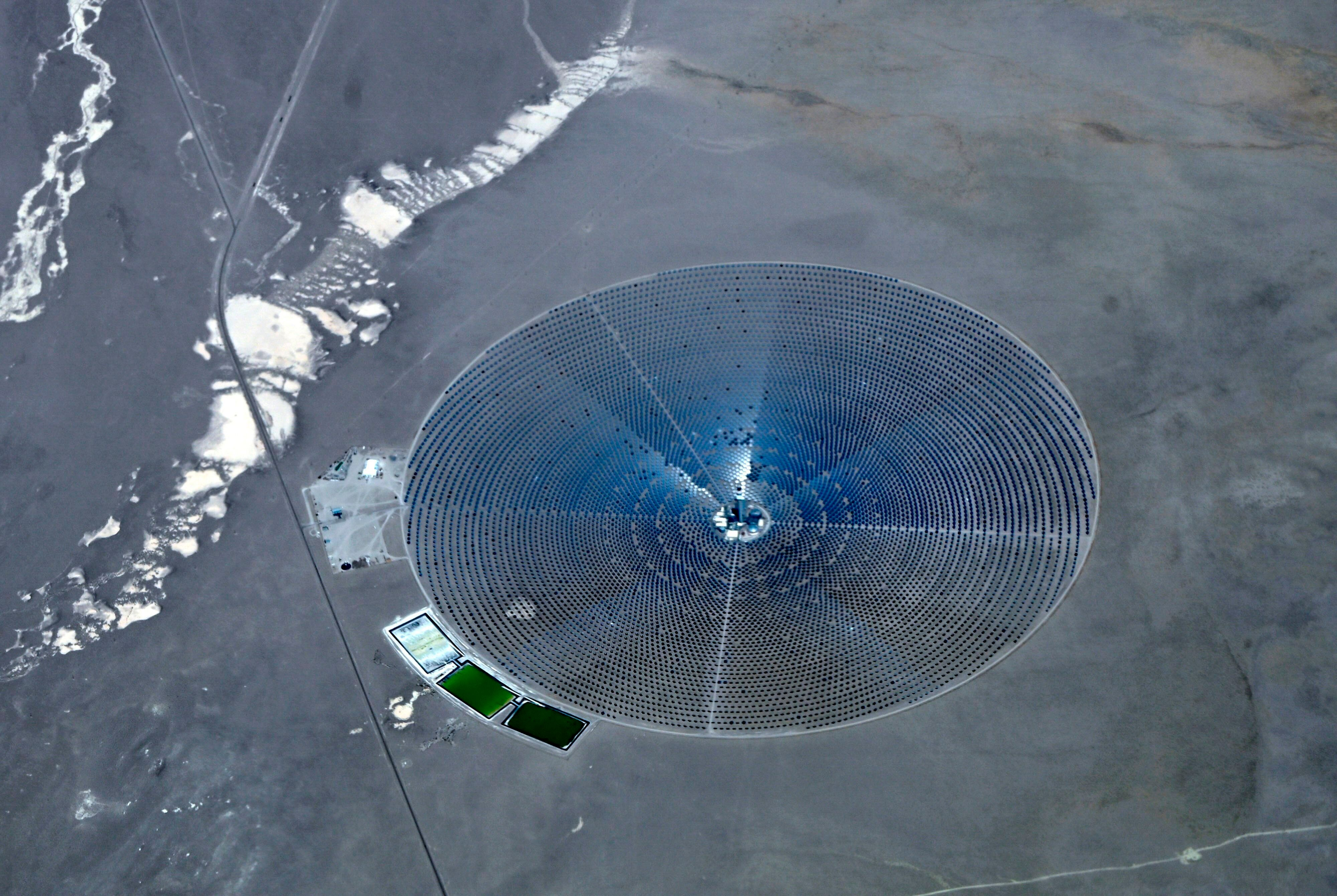 The Crescent Dunes Solar Energy Project, northwest of Las Vegas, was the first concentrated solar power plant with a central