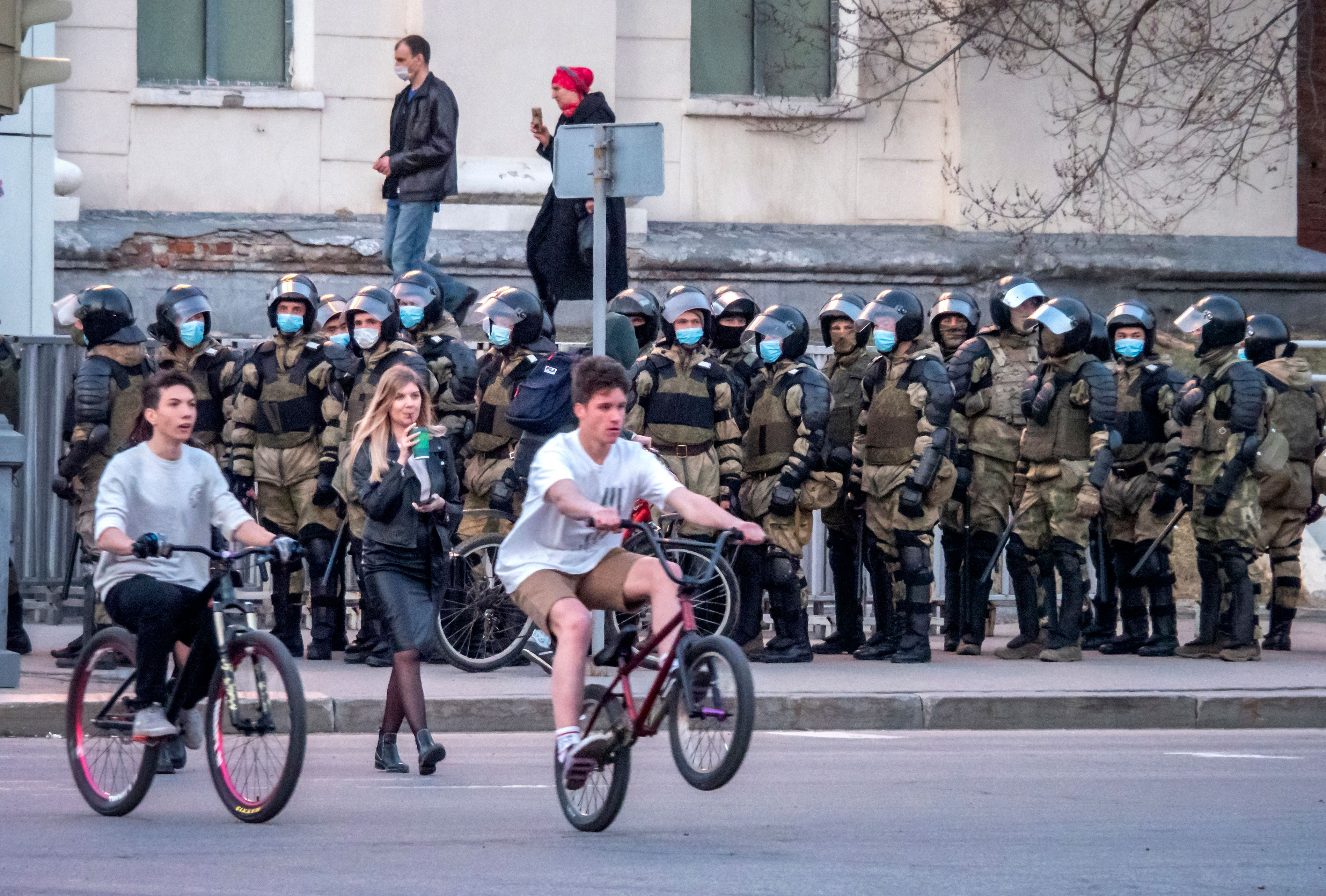 Russian policemen stand in preparation for a possible opposition rally in support of jailed opposition leader Alexei Navalny
