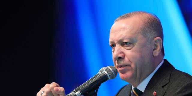 March 24, 2021: Turkey's President Recep Tayyip Erdogan gestures as he speaks during his ruling party's congress inside a packed sports hall in Ankara, Turkey. (Turkish Presidency via AP, File)