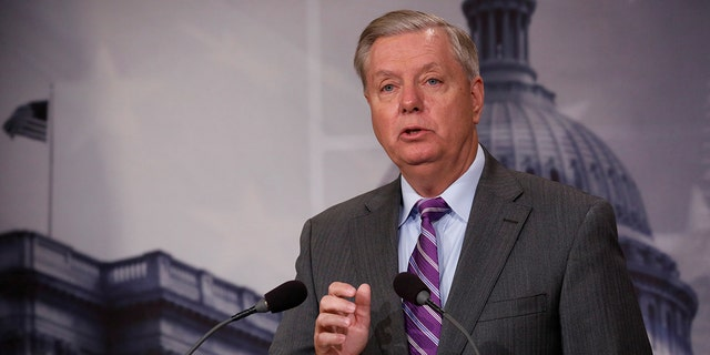 Senator Lindsey Graham (R-SC) speaks at a news conference about the recent attack in New York, on Capitol Hill in Washington, U.S., November 1, 2017. REUTERS/Aaron P. Bernstein - RC1BE4D89800