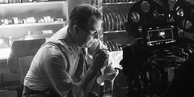 In this image released by Netflix, Gary Oldman portrays Herman Mankiewicz in a scene from 'Mank.' On Wednesday, Feb. 3, 2021 the film was nominated for a Golden Globe for best motion picture drama.