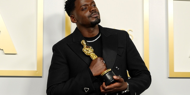 Daniel Kaluuya, winner of Actor in a Supporting Role for 'Judas and the Black Messiah,' poses in the press room during the 93rd Annual Academy Awards at Union Station on April 25, 2021, in Los Angeles, Calif. (Photo by Chris Pizzello-Pool/Getty Images)