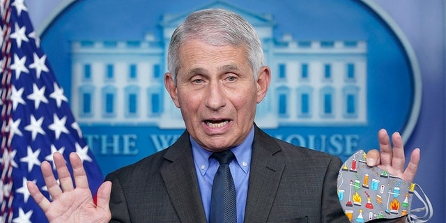 "Dr. Anthony Fauci, director of the National Institute of Allergy and Infectious Diseases, speaks during a press briefing at the White House, Tuesday, April 13, 2021, in Washington. Fauci said Sunday that the risk of catching the coronavirus outdoors is ""really quite<br> ​​​​​​low"" and that the CDC may issue relaxed guidance on wearing masks outdoors this week. (AP Photo/Patrick Semansky)"