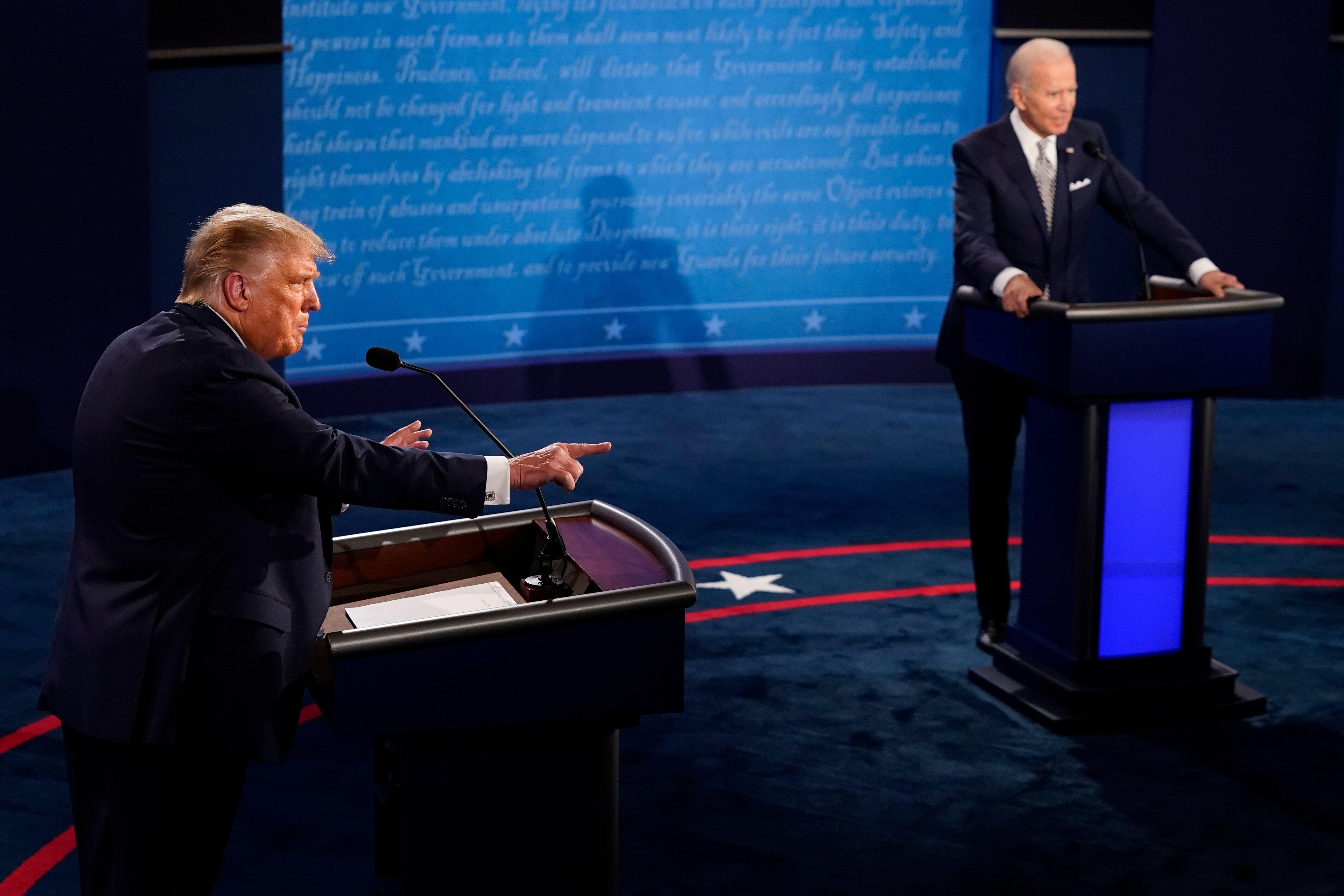 Then-President Donald Trump speaks during the first presidential debate against then-former Vice President Joe Biden on Septe