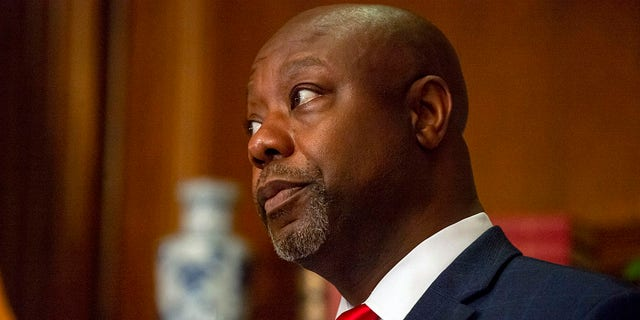 U.S. Sen. Tim Scott (R-SC) poses before a meeting with Seventh Circuit Court Judge Amy Coney Barrett, President's Trump's pick for the Supreme Court, in the Mansfield Room of the U.S. Capitol on September 29, 2020 in Washington, DC. (Photo by Bonnie Cash-Pool/Getty Images)