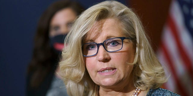 Rep. Liz Cheney, R-Wyo., the House Republican Conference chair, speaks with reporters following a GOP strategy session on Capitol Hill in Washington, Tuesday, April 20, 2021. Cheney said she is not backing away from her critical stance against former President Trump in a Thursday interview.